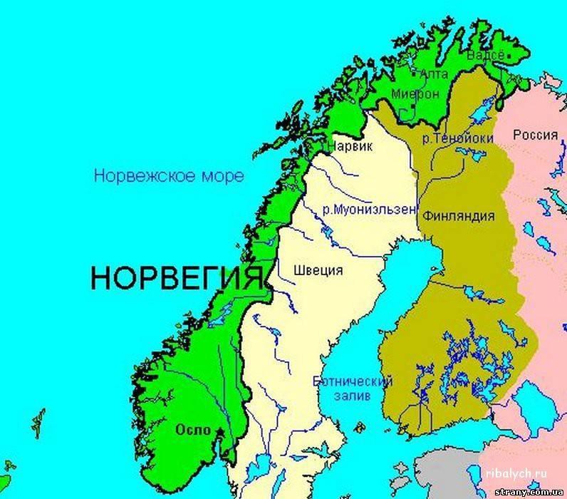 Карта где находится норвегия