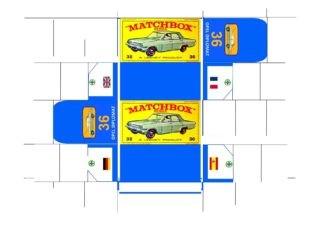 Pattern for printing boxes - Matchbox MB 36 Шаблон для печати коробочек