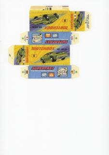 Pattern for printing boxes - Matchbox MB 9 Шаблон для печати коробочек
