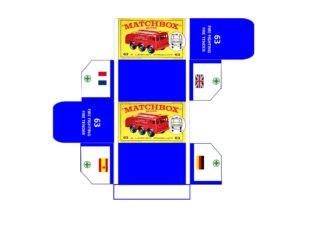 Pattern for printing boxes - Matchbox MB 63 Шаблон для печати коробочек
