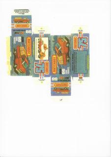 Pattern for printing boxes - Matchbox MB 66 Шаблон для печати коробочек