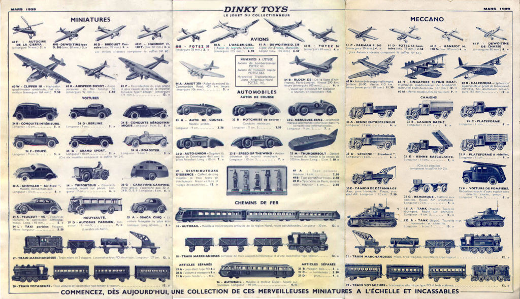 Французский каталог  Katalog  Dinky Toys - French 1939